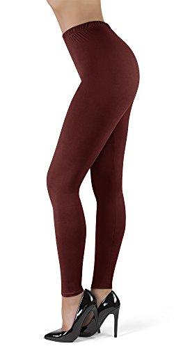 Satina Leggings mit hoher Taille, 2,5 cm Bund, 22 Farben - Rot - Einheitsgröße