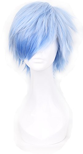 Simpleyourstyle Ice Blue Anime Cosplay Wigs Short Heat Resistant Synthetic Full Wigs for Men 30cm 11.8inch 160g