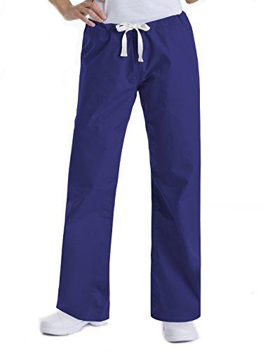 Urbane Essentials Women's Straight Leg Drawstring Scrub Pants-9502 (Galaxy Blue - Small Petite)