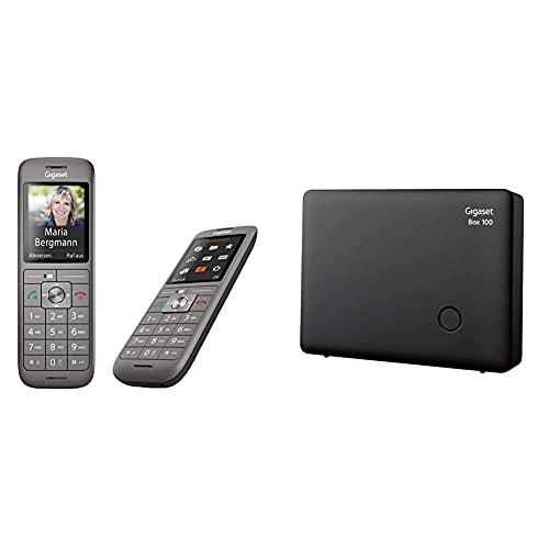 Gigaset CL660HX Duo - 2 schnurlose DECT-Telefone zum Anschluss am Router, Anthrazit-metallic & DECT Basisstation Box 100 für Ihr eigenes Kommunikationssystem mit Gigaset Mobilteilen - in schwarz