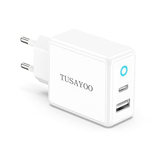 TUSAYOO Cargador USB de Pared, 20W PD Enchufe USB C + 12W Adaptador Enchufe USB A, con 2 Puertos, Carga Rapida Móvil Charger Compatible con iPhone 13 12 Pro MAX Mini/11/Xs/Xr/X/8/7, Android