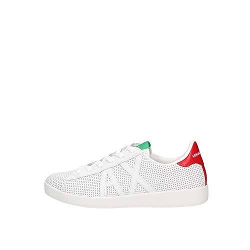 Armani Exchange AX Box Sole Sneakers, Zapatillas para Hombre, Blanco (Op.White+Black Logo 00152), 41 EU
