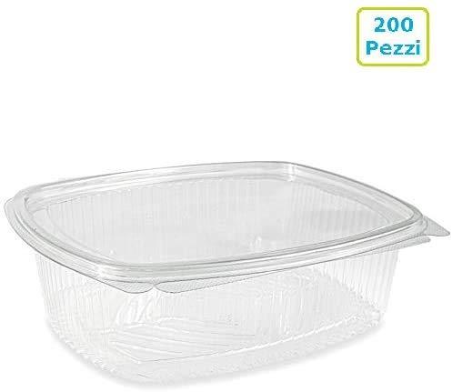 VIRSUS Vaschette ovali in Pet Scatola da 200 vaschette 1500cc Trasparenti USA e Getta con Coperchio Unito Contenitori monouso di plastica con Chiusura ermetica