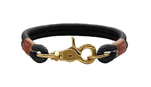 HUNTER Oss Halsung für Hunde, Tau, fellschonend, maritim, nautisch, 35 (S), schwarz
