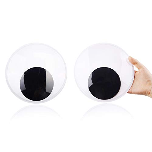 DIYASY 7.5 Inches Giant Googly Eyes, 2 Pcs Large Wiggle Eyes Self Adhesive for DIY Craft Decorations and Christmas Ornaments.