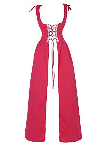 renacentista Vestido Medieval Mujer Vintage Victoriano gotico Manga Larga de Llamarada Disfraz Princesa Rojo XL