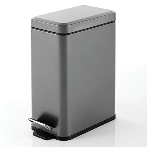 mDesign Cubo de basura rectangular con capacidad de 10 litros – Compacto contenedor de residuos con cubo interior para oficina, baño o dormitorio – Moderna papelera de metal y plástico – gris oscuro