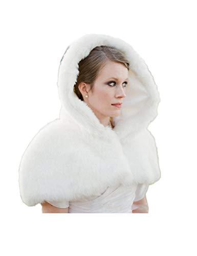 CoCogirls Romantisch Mit Kapuze Brautumhang Kurz Hochzeitsmäntel Für den Winter Mit Fauxpelz Hochzeit Brautschal (Weiß, Schulter an Schulter)