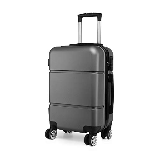 Kono Suitcase 20'' Travel Carry On Hand Cabin Luggage Hard Shell Travel Bag Lightweight, Grey