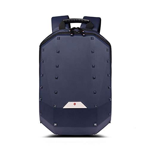 ZHHk Solid Color Rivet Geometry Backpack Men's Personality Casual Portable Backpack Large Capacity Travel Computer Bag Female Outdoor Sports Riding Bag (Color : Blue)