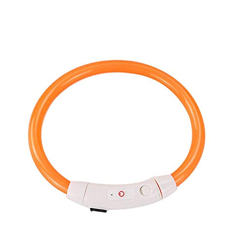 GBSELL LED Dog Collar Pet Supplies USB Rechargeable LED Dog Collar for Walking Dogs Glowing Pet Safety Collar Silicone Cuttable Light Up Dog Collar Lights for Small Medium Large Dogs (Orange)
