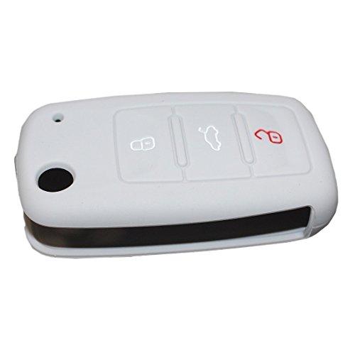 Tuqiang® Coque de clé en silicone pour clé de voiture - 3 boutons - Pour VW - Gris