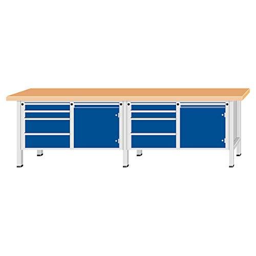 ANKE Werkbank, extrabreit - 2 Türen, 8 Schubladen mit Vollauszug - Buchemassivplatte - Arbeitstisch Montagetisch Werkbank Werktisch