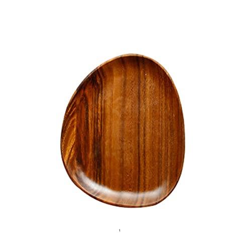 N\C Plato de Ensalada de Madera Maciza Ovalada Irregular de Madera de Acacia Plato de Fruta Cesta de Pan Color de Madera Natural
