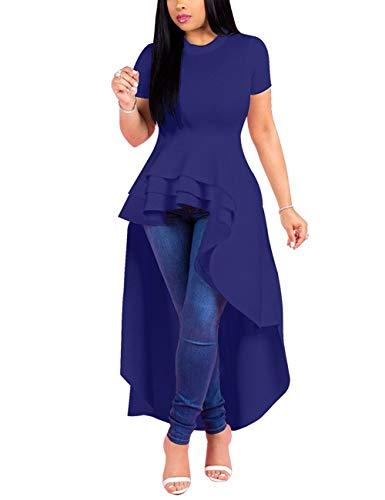 Lrady Women Ruffle High Low Asymmetrical Short Sleeve Peplum Tops Blouse Shirt Dress Blue 2XL