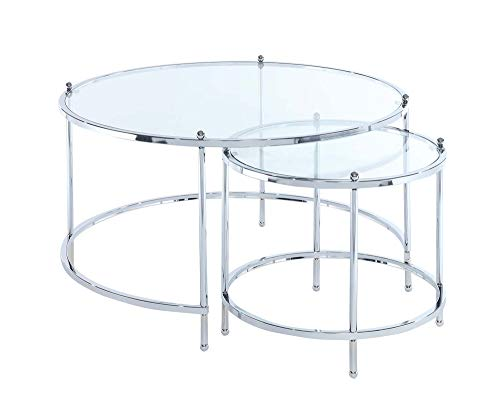 Convenience Concepts Royal Crest Nesting Round Coffee Table, Clear Glass / Chrome Frame