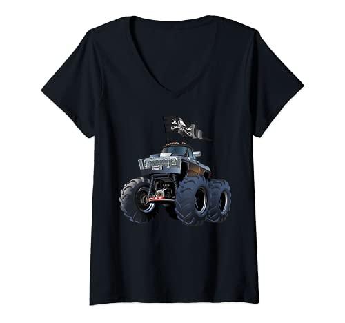 Mujer Monster Truck, Monster Trucks Rule Tee shirts, Monster Cars Camiseta Cuello V