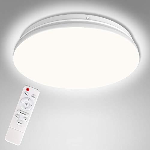 Control remoto Plafon Led de Techo Regulable, Lámpara de Techo Dormitorio, 20W LED Plafón Moderna para Baño Cocina Balcón Pasillo Sala de Estar Comedor Ø33CM