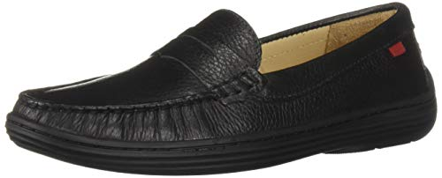 MARC JOSEPH NEW YORK Unisex-Kid's Leather Boys/Girls Casual Comfort Slip On Moccasin Loafer Shoes Driving Style, Black Grainy, 11 Little Kid M US Little Kid