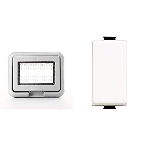 BTicino 25603 Coperchio, 3 moduli, Grigio & SAM5003F Matix FP Deviatore, 1 P, 16 A