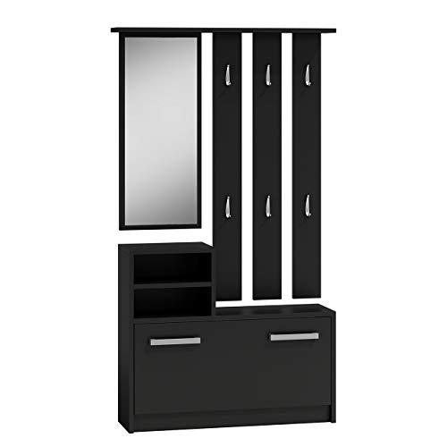 Mirjan24 Garderoben-Set Biel mit 6 Kleiderhaken, Spiegel, Schuhschrank, Farbauswahl, Wandgarderobe (Schwarz)