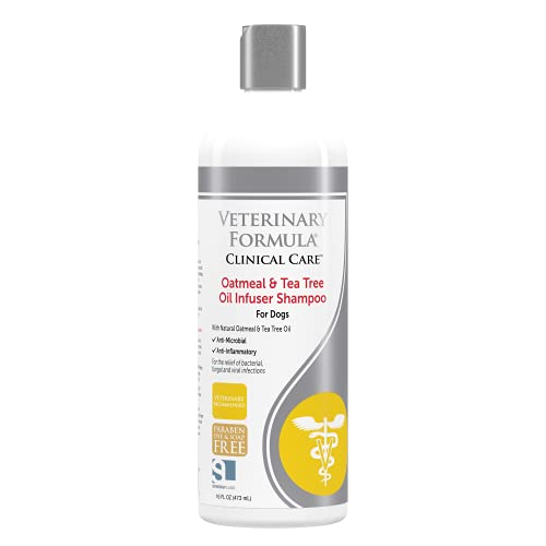 Veterinary Formula Clinical Care Oatmeal and Tea Tree Oil Infuser Shampoo for Dogs – Fast-Acting, Gentle, 100% Safe Medicated Shampoo to Treat Fungal, Bacterial and Viral Skin Infections in Dogs, 16oz