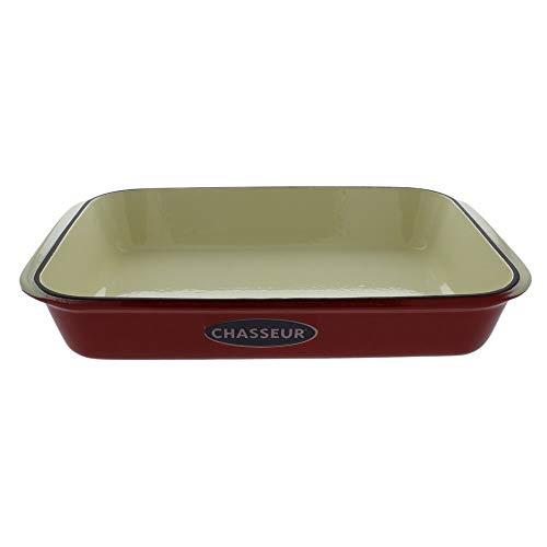 MISC 13' X 8' Red French Enameled Cast Iron Rectangular Roaster Dishwasher Safe