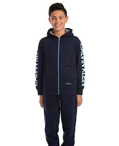 Calvin Klein Boys' Big Fleece Hoodie, Navy Blue, Small (8)