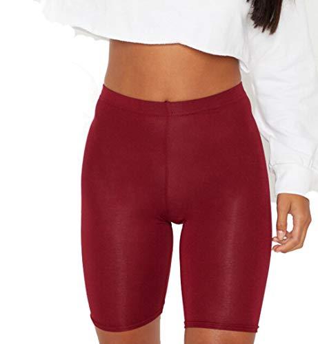 PrettyFashion 1/2 Leggings Corti Donna Pantaloncini Mutande Pantaloncini da Ciclismo Taglia 36-50 (Borgogna Rosso, S)