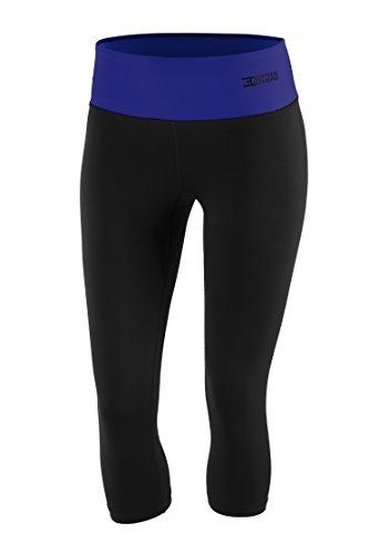 Freenord FITTECH Performance Damen Thermoaktiv Legging Leggins Strumpfhose Tights Laufhose Caprihose 3/4 Leggings Fitness Pilates Outdoor Radsport Running (Schwarz/Blau, XL)