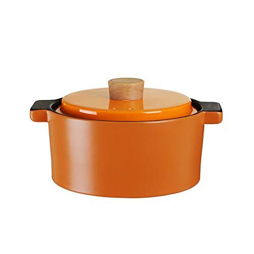 Gusstopf Cocotte Cocotte Marmite en fonte émaillée résistant aux températures et à la chaleur avec couvercle, porcelaine et grand compartiment en bois massif 4 l stylename size Orange