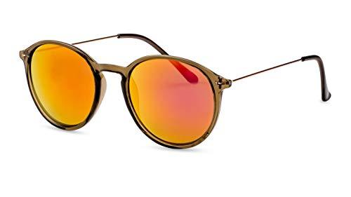 CATWALK Runde Sonnenbrille/Leichte Unisex-Sonnenbrille für kleine, schmale Köpfe/Rot verspiegelt F2507930