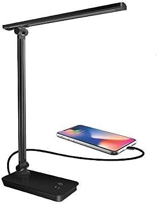 Lámpara de escritorio LED, lámpara de mesa LED regulable, control táctil 3 modos de iluminación 5 niveles de brillo, lámparas de mesa plegables con puerto USB de carga (Black)