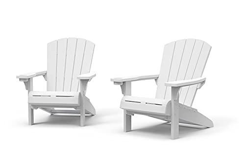 Keter Furniture Patio Chairs with Cup Holder Ideal für Strand, Pool und Feuerstelle, Kunststoff, Weiß