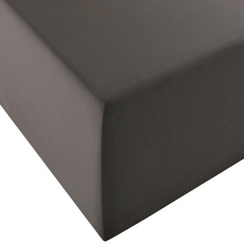 Fleuresse Lenzuolo Comfort XL-in Jersey,per materassi Standard e ad Acqua, Jersey, Antracite, 200 cm x 200 cm