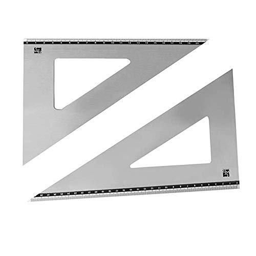 Set di 2 Squadrette in Alluminio per geometria matematica, Coppia Squadre disegno in lega di alluminio da 31 cm da 60° e 21 cm da 45° gradi, per studenti disegno tecnico 45°0°