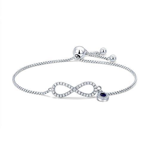 HJPAM Mode 925 sterling zilveren saffier blauwe cz oneindige armband mode bedelarmband sieraden maken cadeau