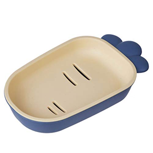 Heizung Soap Dish Cartoon Radish Plastic Soap Tray Can Be Drained to Keep Dry Toilet and Bathroom Storage Box (Color : Blue yellow)