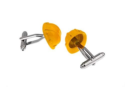 Daesar Manschettenknopf für Männer Gelb Schutzhelm Silber Edelstahl Herren Manschettenknöpfe Hochzeit Geschenk mit Box