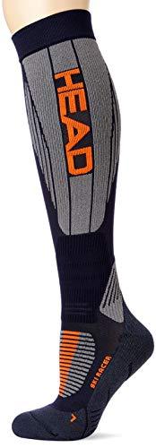 HEAD Unisex-Adult Racer Kneehigh Ski (1 Pack) Skiing Socks, red/Grey/Blue, 43/46