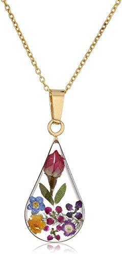 14k Gold Over Sterling Silver Multi Pressed Flower Teardrop Pendant Necklace 16quot