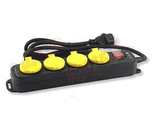 Regleta Schuko 16 A, 3500 W, IP44, 4 posiciones, 10 A, interruptor resistente al agua