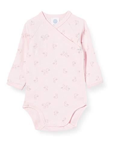 Sanetta Baby-Mädchen Sorbet Hinreißender Wickelbody zartem rosa mit nettem Schwan-Allover und Schleifchen, 056