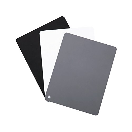"""JJC 4"""" x 5.2"""" PVC White Balance Card Set for Achieving Perfect Color Balance in Your Photos - Including an 18% Neutral Grey Card, a White Card and a Black Card"""