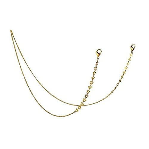 Gafas de sol Cadena Mascarilla Cadena colgante Anti-caída Cara sonriente Cadena personalizada Cordón Collar de máscara alta - Oro Blanco 74Cm