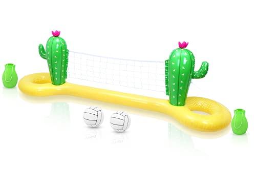 Tomaibaby Aufblasbares Pool-Volleyball-Spielset, Kaktus-schwimmendes Volleyballnetz für Pool mit verstellbarem Netz und 2 Bällen, Pool-Volleyball-Spiel-Sommerparty (300CM * 70CM * 100CM)