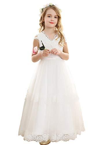 Bow Dream Vintage Long Tulle Flower Girl Dresses Kids Wedding Birthday First Communion White 6