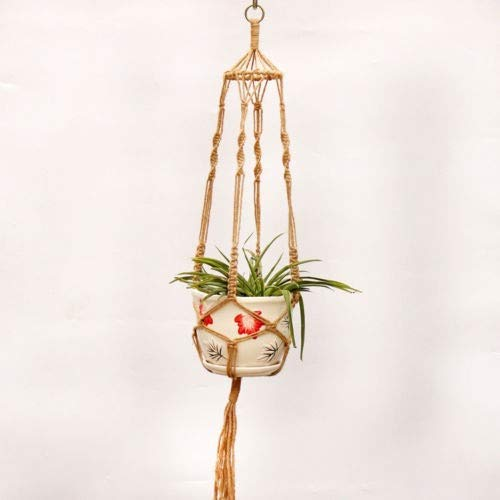 Hangende plantenmand tuindecoratie vintage macramé-hanger bloempot tuin houder benen hangend touw mand handgemaakt gevlochten hanger pot bloempot - mand hangend touw