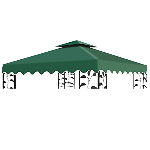 Qweidown Toile Tonnelle 3x3 Toile de Rechange pour Pavillon/Tonnelle de Jardin, Toiture de Rechange pour Tonnelle Tente,100% Étanche + 300D Polyester, Couverture Supérieure pour Le Jardin - Vert