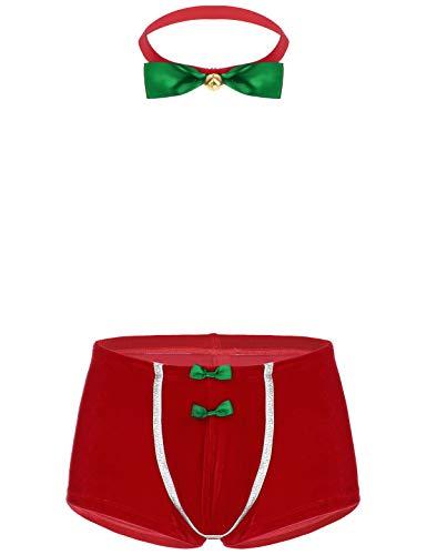 Freebily Männer Weihnachten Kostüm Sexy Unterwäsche Set Samt Bulge Pouch Boxershorts mit Glocke Fliege Phantasie Cosplay Kostüm Erotik Dessous Rot L